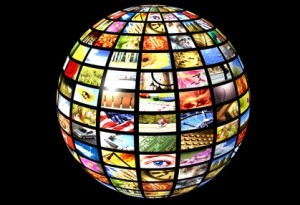 sphere with many screens over a black background as concept for digital tv - new media